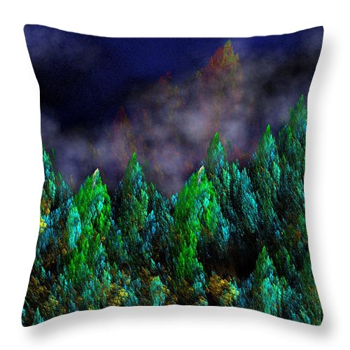 Abstract Digital Painting Throw Pillow featuring the digital art Forest Primeval by David Lane