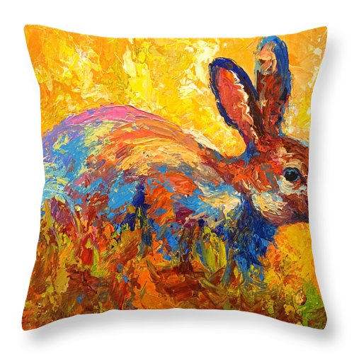 Rabbit Throw Pillow featuring the painting Forest Rabbit II by Marion Rose