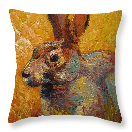 Rabbit Throw Pillow featuring the painting Forest Rabbit IIi by Marion Rose