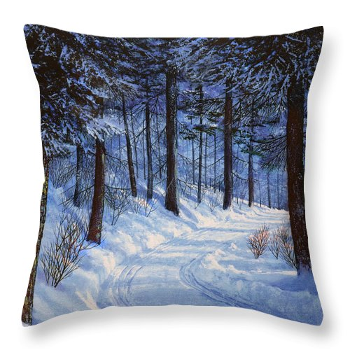Landscape Throw Pillow featuring the painting Forest Road by Frank Wilson