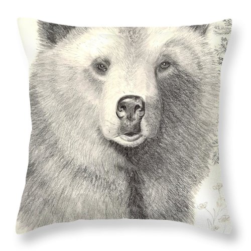 Grizzle Bear Throw Pillow featuring the drawing Forest Sentry by Joette Snyder
