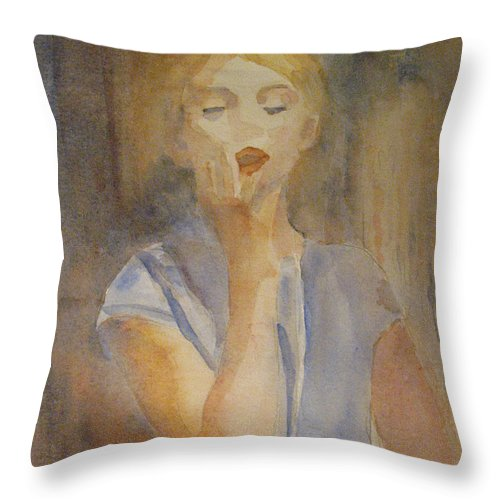 Woman Throw Pillow featuring the painting Forest Singer by Jenny Armitage