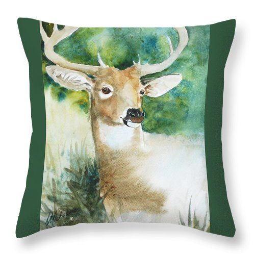 Deer Throw Pillow featuring the painting Forest Spirit by Christie Michelsen