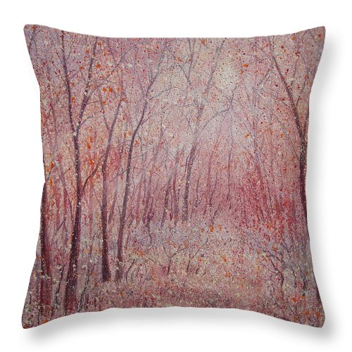 Landscape Throw Pillow featuring the painting Forest Stillness. by Leonard Holland