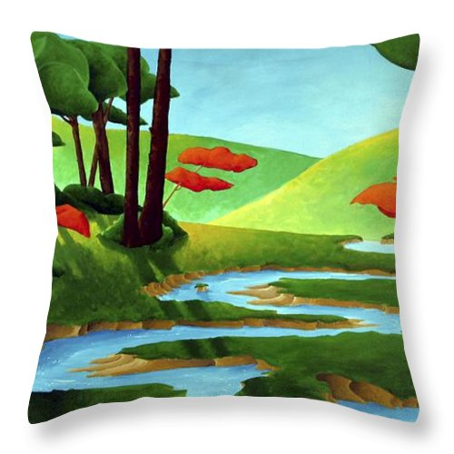 Landscape Throw Pillow featuring the painting Forest Stream - Through The Forest Series by Richard Hoedl