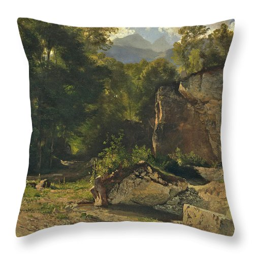Johann Gottfried Steffan Throw Pillow featuring the painting Forest Track. 1855 by Johann Gottfried Steffan