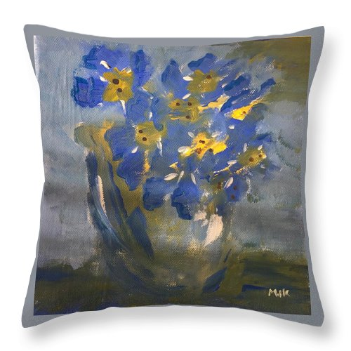 Flowers Throw Pillow featuring the painting Forget Me Nots by Mary Jo Hopton