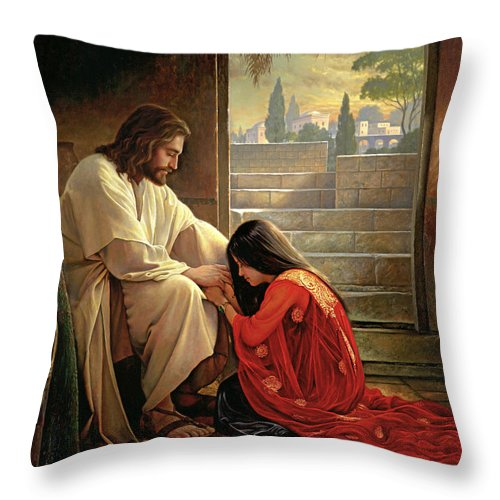 Jesus Throw Pillow featuring the painting Forgiven by Greg Olsen