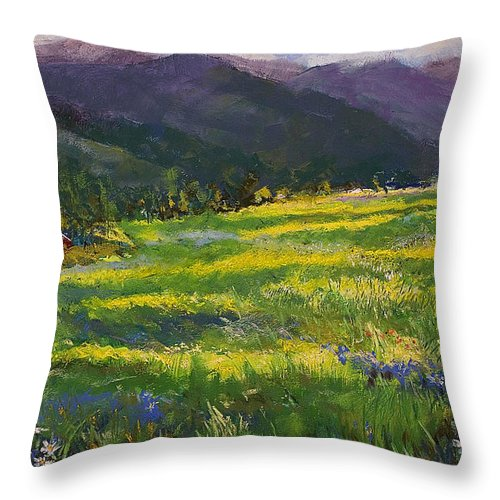 Forgotten Field Throw Pillow featuring the pastel Forgotten Field by David Patterson