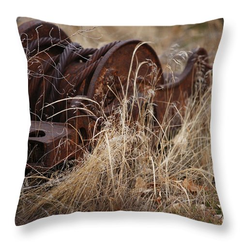 Farm Throw Pillow featuring the photograph Forgotten by Linda Shafer
