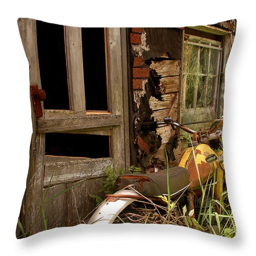 Old Buildings Throw Pillow featuring the photograph Forgotten by Linda McRae