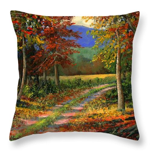 Landscape Throw Pillow featuring the painting Forgotten Road by Frank Wilson