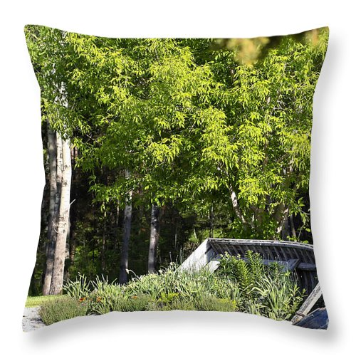 Boat Throw Pillow featuring the photograph Forgotten by Teresa Zieba