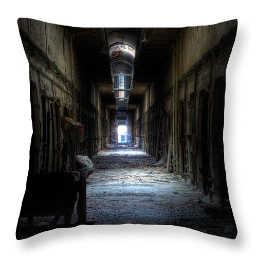 Eastern State Throw Pillow featuring the photograph Forgotten Times by Scott Wyatt