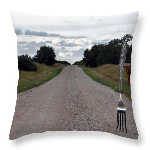 Cow Calf Fork Road Pasture Land Trees Animal Fun Throw Pillow featuring the photograph Fork In The Road by Andrea Lawrence