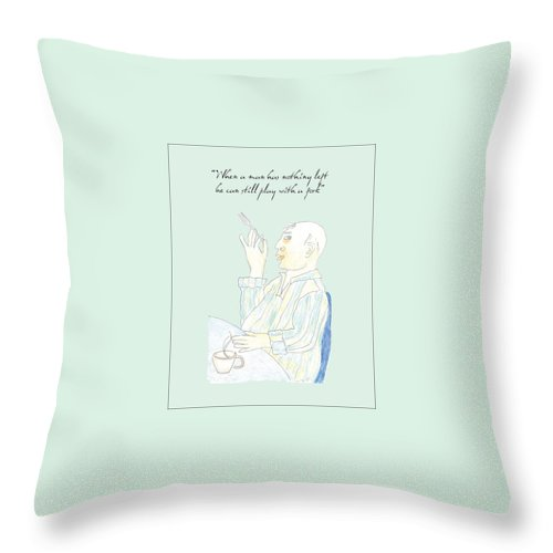 Old Age Throw Pillow featuring the drawing Fork Play by Heather Hennick