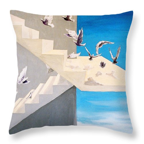 Birds Throw Pillow featuring the painting Form Without Function by Steve Karol