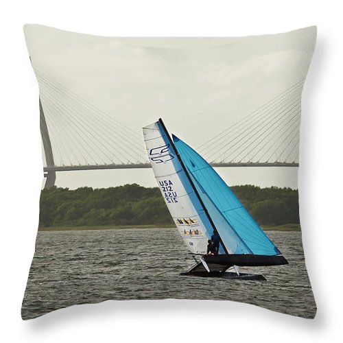 Formula 18 Throw Pillow featuring the photograph Formula 18 Sailing Cat Big Booty Charleston Sc by Dustin K Ryan