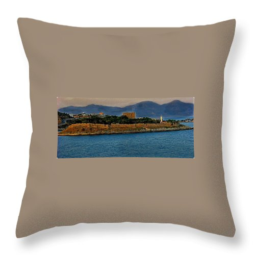 Turkey Throw Pillow featuring the photograph Fort Guvercinada On Canvas by Gordon Castle