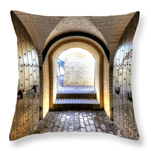 Fort Throw Pillow featuring the photograph Fort Moultrie Bunker Doors by Dustin K Ryan