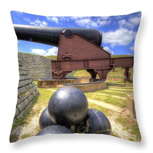 Fort Throw Pillow featuring the photograph Fort Moultrie Cannon Balls by Dustin K Ryan