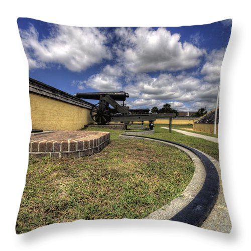 Fort Throw Pillow featuring the photograph Fort Moultrie Cannon Rails by Dustin K Ryan