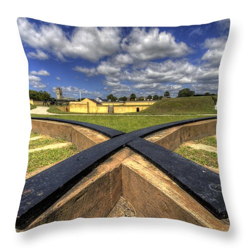 Fort Throw Pillow featuring the photograph Fort Moultrie Cannon Tracks by Dustin K Ryan