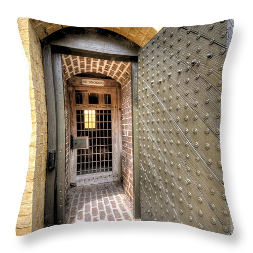 Fort Throw Pillow featuring the photograph Fort Moultrie Magazine Door by Dustin K Ryan