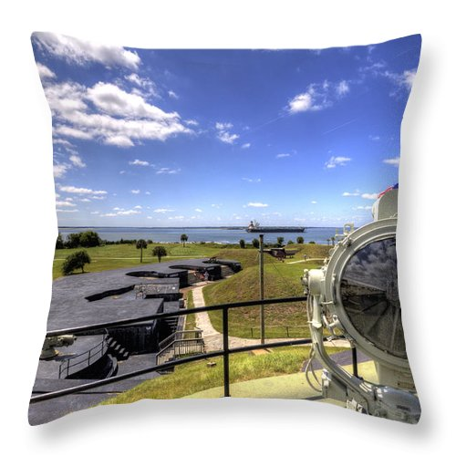 Fort Throw Pillow featuring the photograph Fort Moultrie Signal Light by Dustin K Ryan
