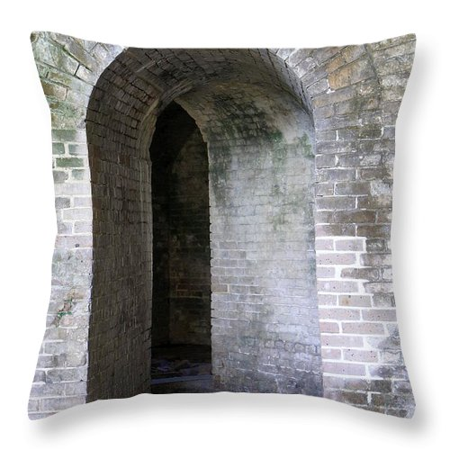 Fort Throw Pillow featuring the photograph Fort Pickens Entrance by Laurie Perry