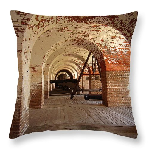 Fort Pulaski Throw Pillow featuring the photograph Fort Pulaski II by Flavia Westerwelle
