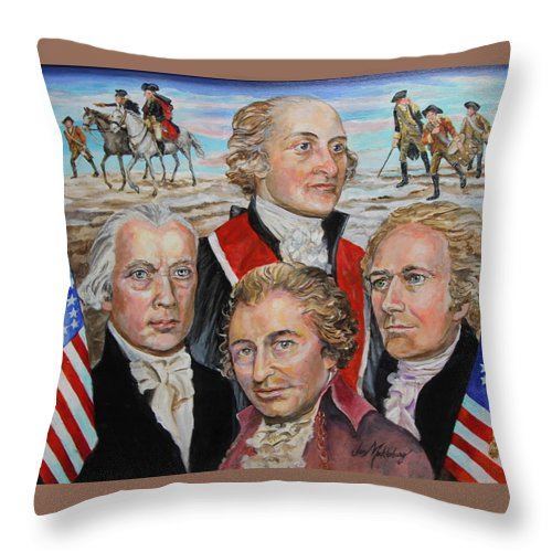 Portraits Of John Jay Throw Pillow featuring the painting Founding Fathers Jay Madison Paine And Hamilton by Jan Mecklenburg