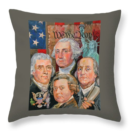 Thomas Jefferson Throw Pillow featuring the painting Founding Fathers Of America by Jan Mecklenburg