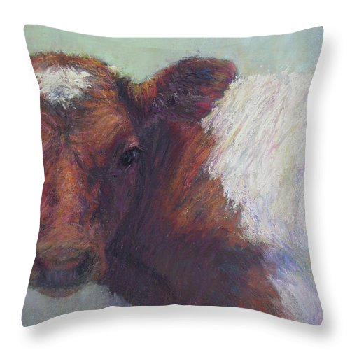 Cows Throw Pillow featuring the painting Foundling by Susan Williamson