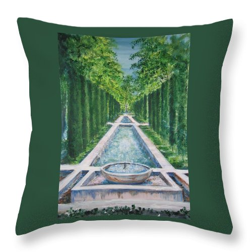 Fountain Throw Pillow featuring the painting Fountain Palma de Mallorca Capital by Lizzy Forrester