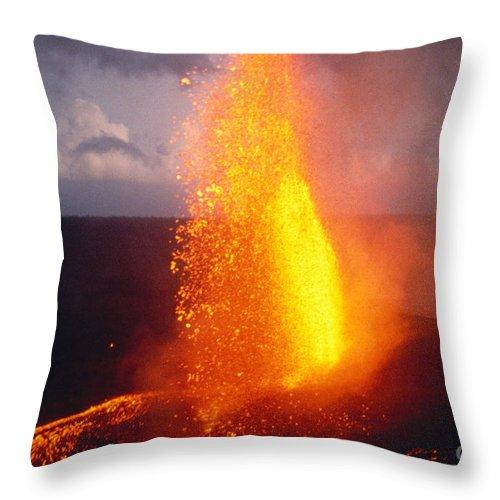 A'a Throw Pillow featuring the photograph Fountaining Kilauea by Allan Seiden - Printscapes