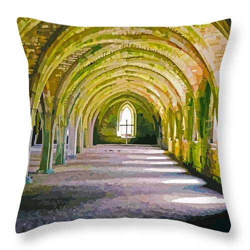 Fountains Abbey Throw Pillow featuring the digital art Fountains Abbey, Vaulted Chamber by Brian Shaw