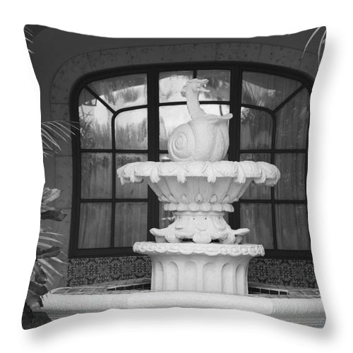 Architecture Throw Pillow featuring the photograph Fountian And Window by Rob Hans