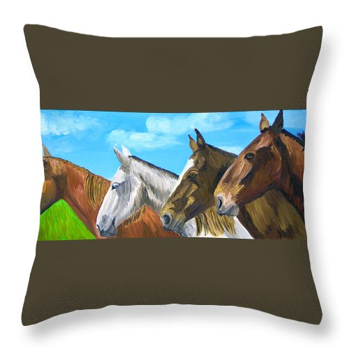 Horses Throw Pillow featuring the painting Four Amigos by Michael Lee