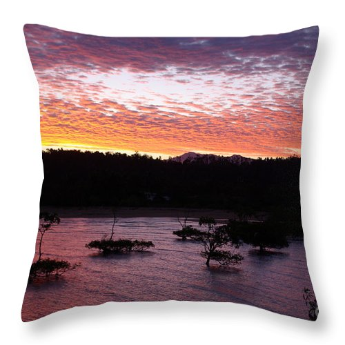 Landscape Throw Pillow featuring the photograph Four Elements Sunset Sequence 3 Coconuts Qld by Kerryn Madsen - Pietsch