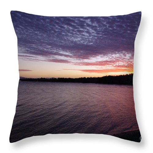 Landscape Throw Pillow featuring the photograph Four Elements Sunset Sequence 4 Coconuts Qld by Kerryn Madsen- Pietsch