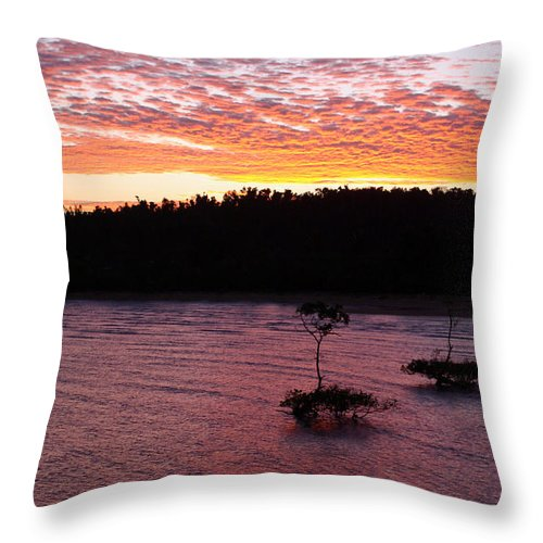 Landscape Throw Pillow featuring the photograph Four Elements Sunset Sequence 5 Coconuts Qld by Kerryn Madsen - Pietsch