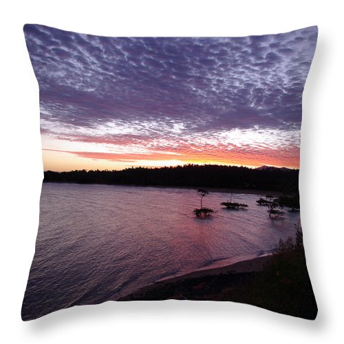 Landscape Throw Pillow featuring the photograph Four Elements Sunset Sequence 6 Coconuts Qld by Kerryn Madsen-Pietsch
