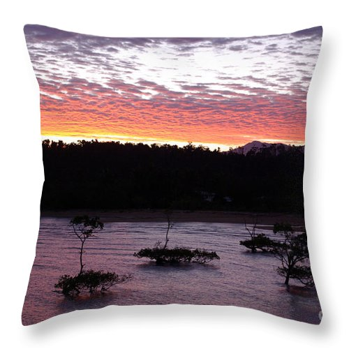 Landscape Throw Pillow featuring the photograph Four Elements Sunset Sequence 8 Coconuts Qld by Kerryn Madsen - Pietsch