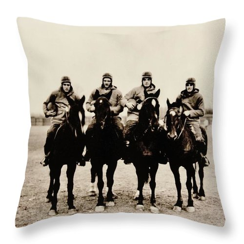 Notre Dame Throw Pillow featuring the photograph Four Horsemen by Benjamin Yeager