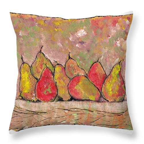 Pears Throw Pillow featuring the painting Four Pair Of Pears by Wayne Potrafka