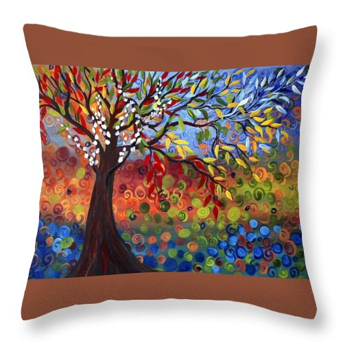 Art Throw Pillow featuring the painting Four Seasons by Luiza Vizoli