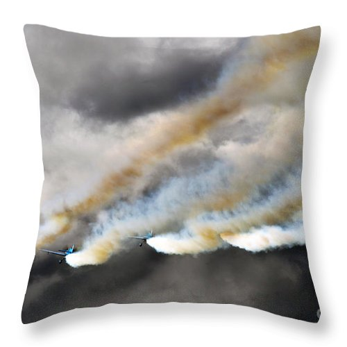 Blades Extra 300 Throw Pillow featuring the photograph Four Smokers by Angel Ciesniarska