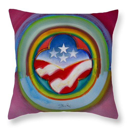 Button Throw Pillow featuring the painting Four Star Button by Charles Stuart
