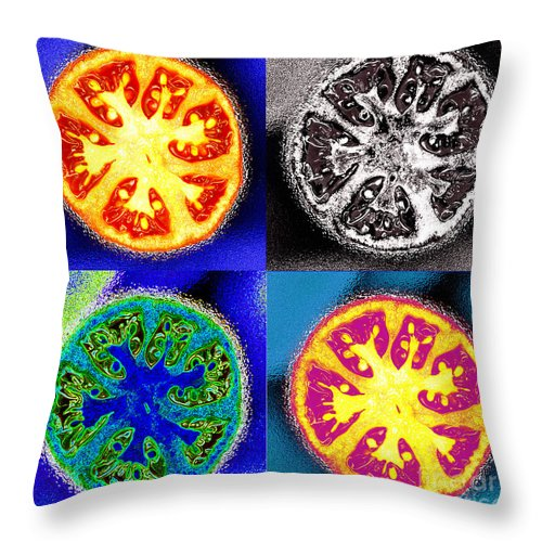 Tomatoes Throw Pillow featuring the photograph Four Tomatoes by Nancy Mueller